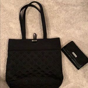 Vera Bradley Iconic Black Tote and Wallet